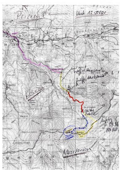 Karte Kosovo Berghütte Zidallee