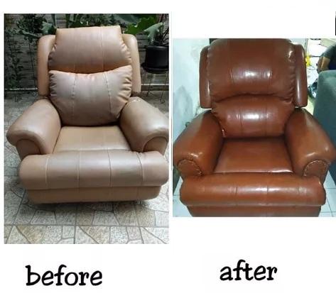 before after perbaikan sofa santai