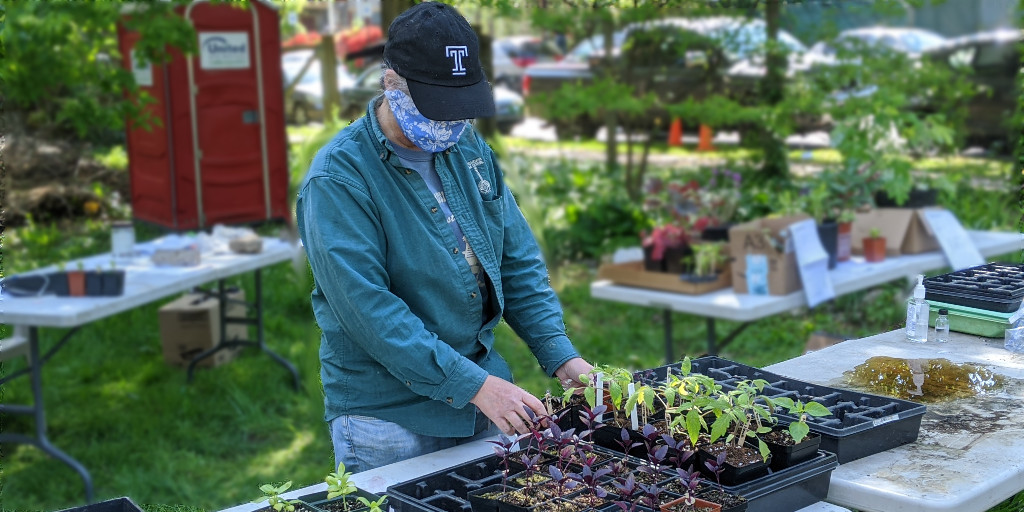 photo: woman in mask and hat tens plants
