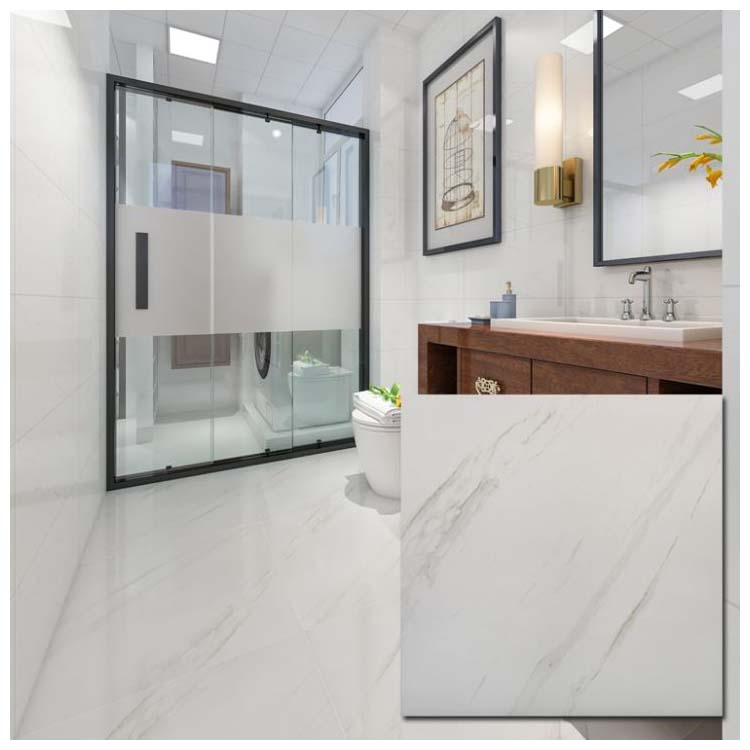 white polished ceramic floor tile