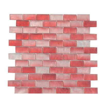 red polished glass mosaic tile