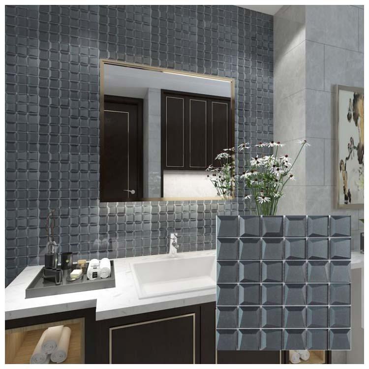 black polished glass mosaic tile