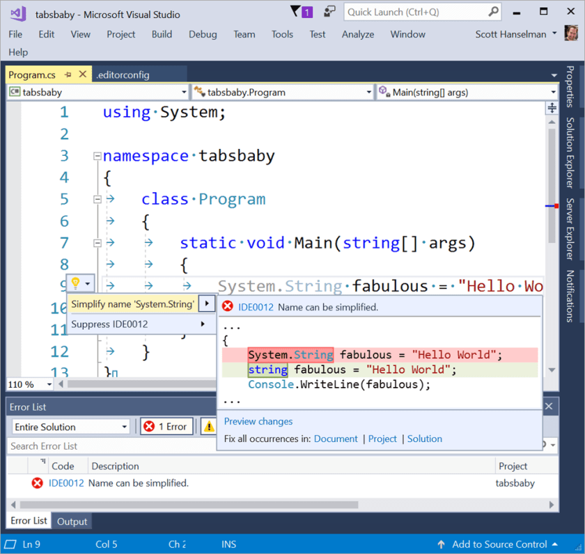 Visual Studio respects EditorConfig