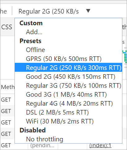Selecting lower bandwidth in Google Chrome F12 Tools