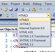 HTML5 in the HTML Toolbar dropdown