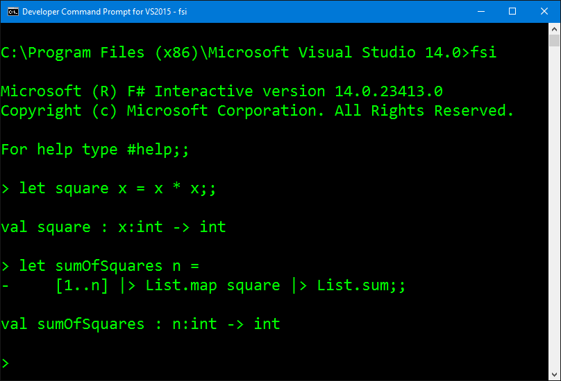 The F# Interactive Shell