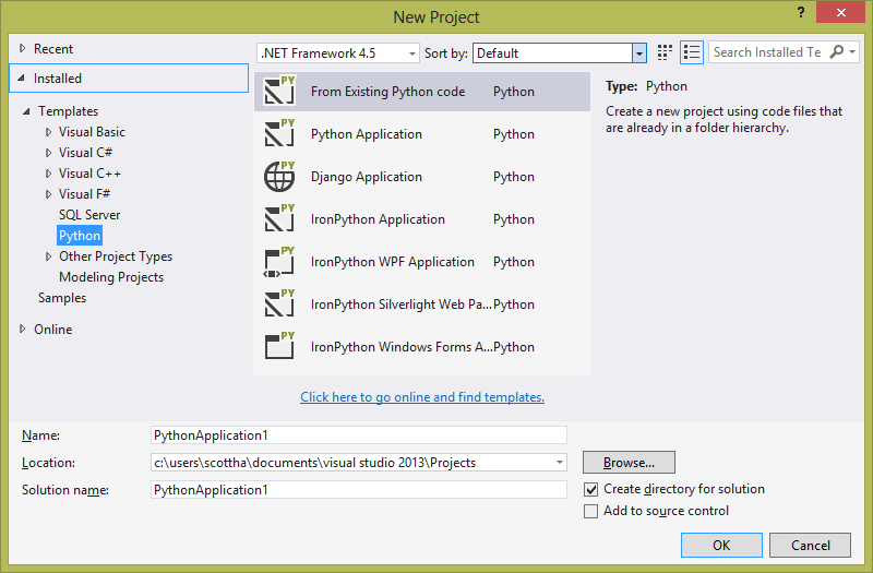 Python in Visual Studio 2013
