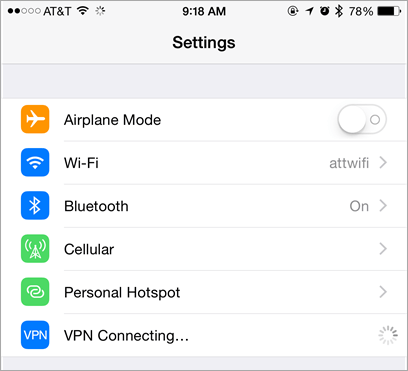 VPN Connecting in Settings