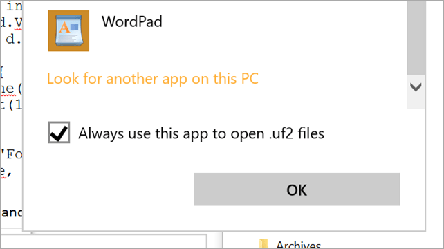 Selecting a custom app for UF2 files
