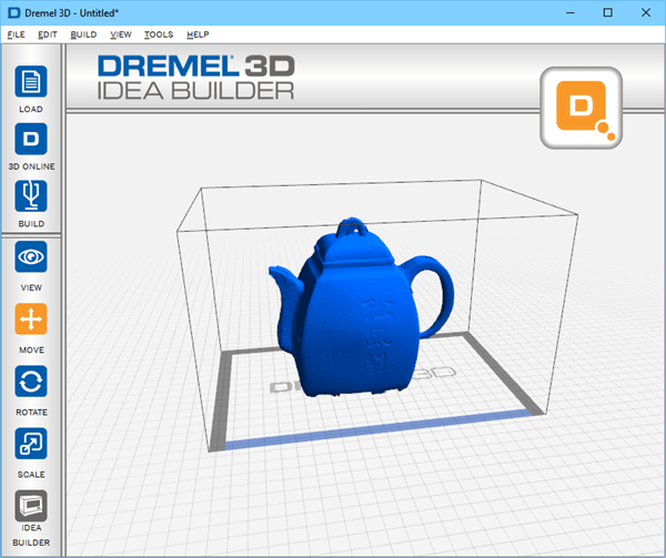 3D Scanned Teapot from the HP Sprout's 3D Scanning Stage in the Dremel 3D Software