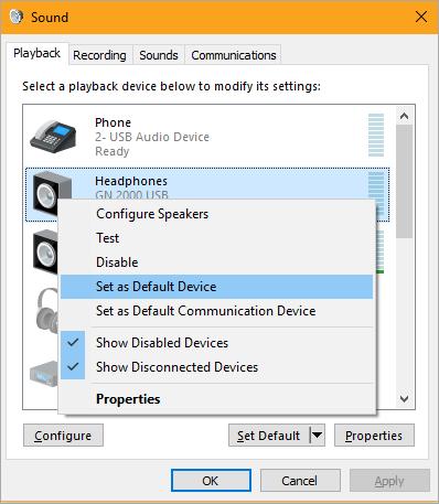 Sound Control Panel
