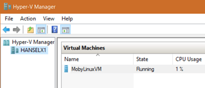 """Moby"" the Docker VM running in Hyper-V"