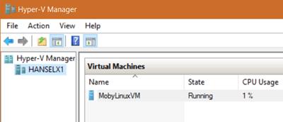 """Moby"" the Docker VM running in Hyper-V"