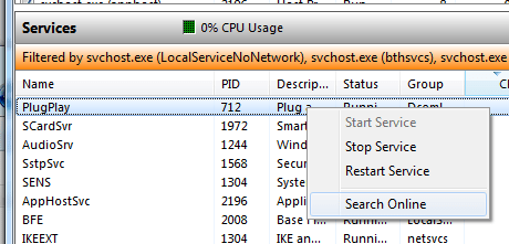 Resource Monitor with the Right Click Menu showing