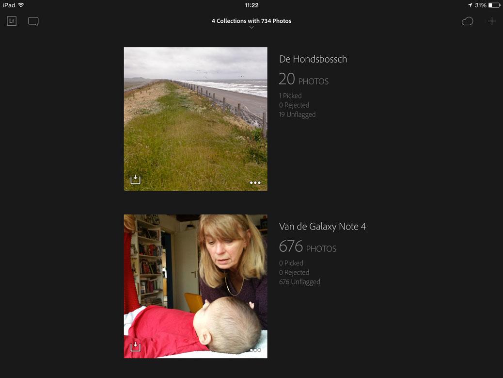 Twee verzamelingen in Lightroom Mobile op de iPad.