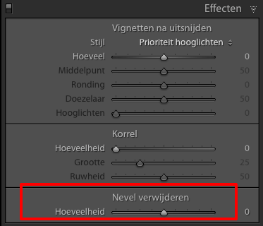 De schuifregelaar Nevel verwijderen in het paneel Effecten in de module Ontwikkelen.
