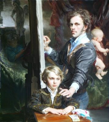 Zelfportret met drie zonen