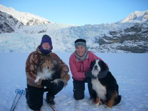 Bill and Kate with Nellie and Susie, Mendenhall Lake and Glacier, Juneau, Alaska