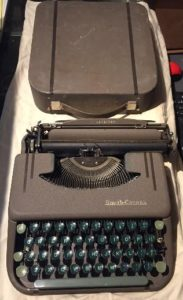 Helen (Hawkinson) Hanson, Bill's mother, typed letters on her this portable Smith-Corona.