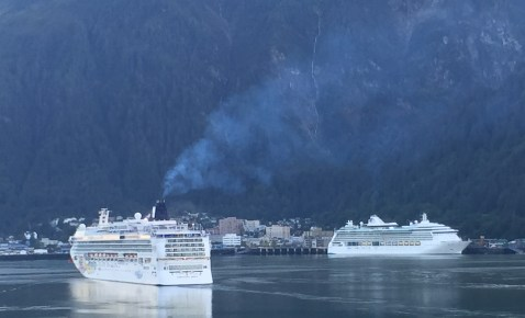 Visitors arrive on early morning cruise Ship - Juneau, AK