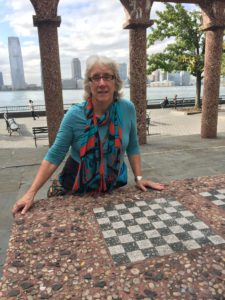 NYC Pocket Park: Kate Troll with stone Chess Board