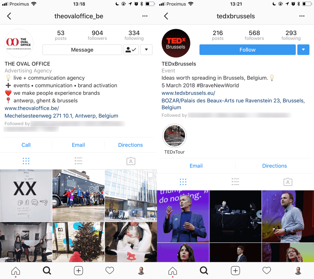 Instagram Accounts of The Oval Office and TEDxBrussels