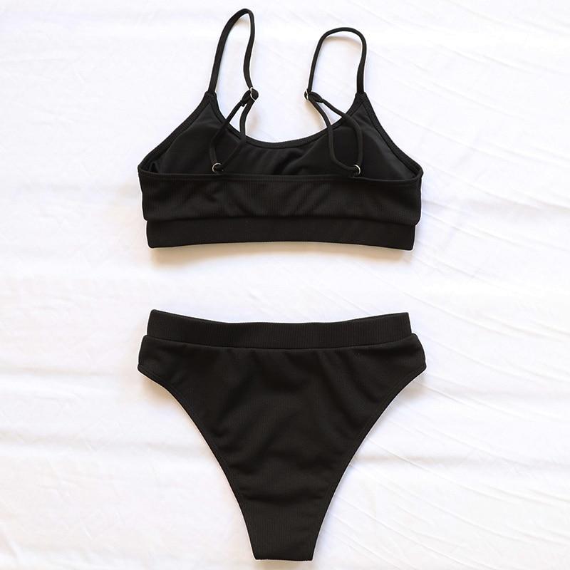 INGAGA High Waist Bikinis Swimsuits Women Push Up Swimwear Ribbed Strap Bathing Suit Biquini Brazilian Bikini 2021 New Beachwear