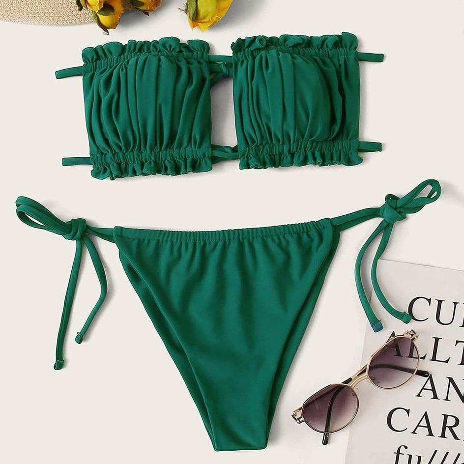 Sexy Bikini 2021 Pleated Bandeau Swimsuit Female Swimwear Women Mini Thong Bikini Set Bather Swimming Beachwear for Bathing Suit