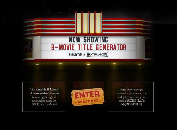 B-Movie Title Generator Welcome Screen