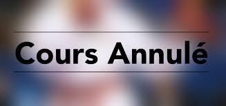 Annulation du cours du jeudi 12 mars 2020