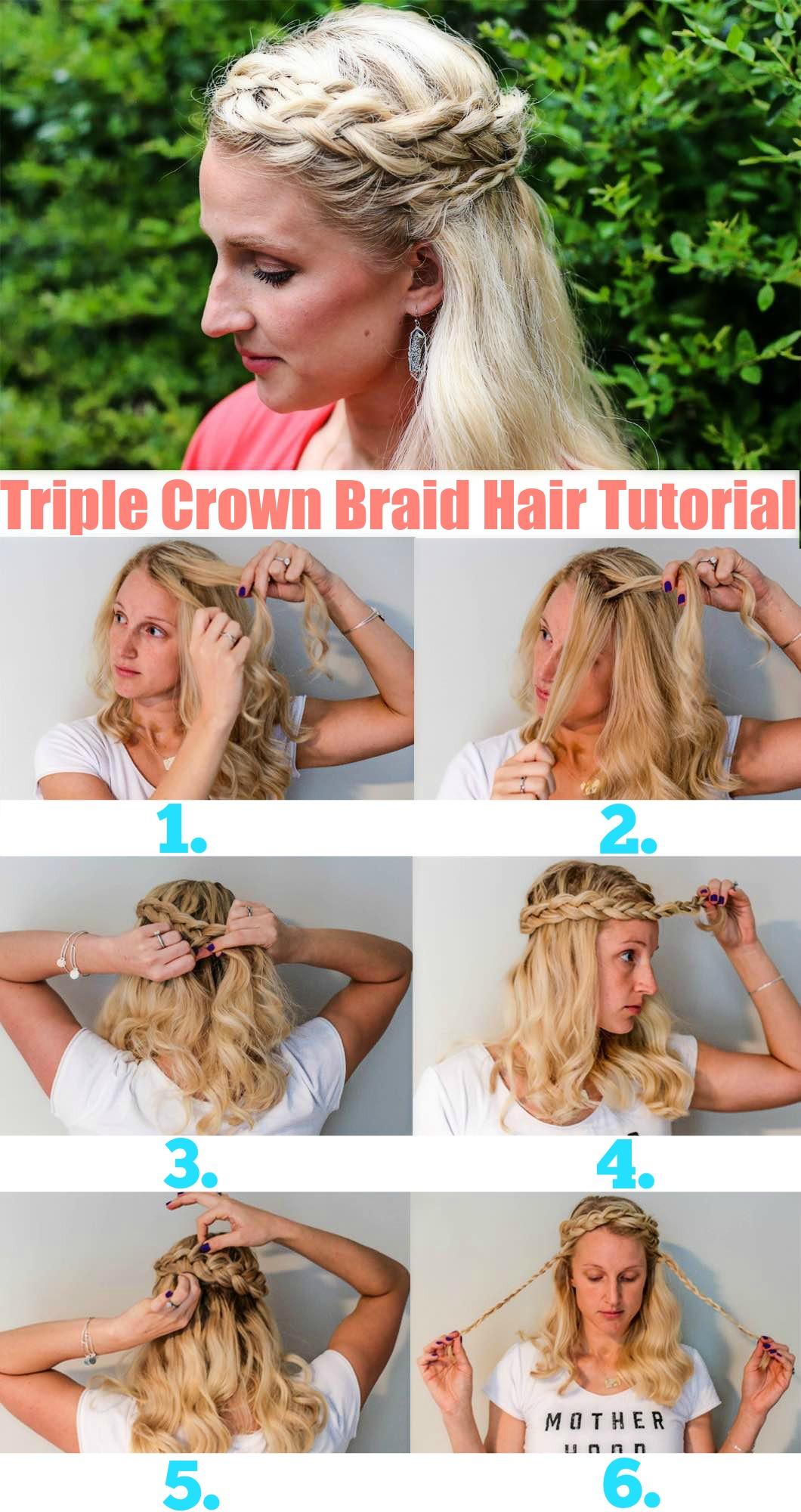 Swell Triple Crown Braid Hair Tutorial Beauty Happily Hughes Schematic Wiring Diagrams Phreekkolirunnerswayorg
