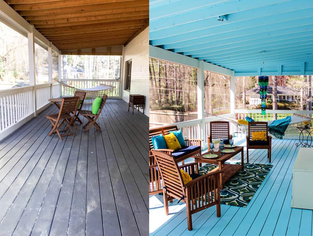 Back Porch Decorating Ideas with Pier 1: before and after pictures