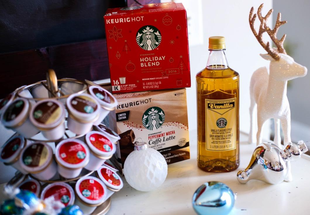 Starbucks Cups Peppermint Mocha - Starbucks Christmas Coffee Bar by Atlanta style blogger Happily Hughes