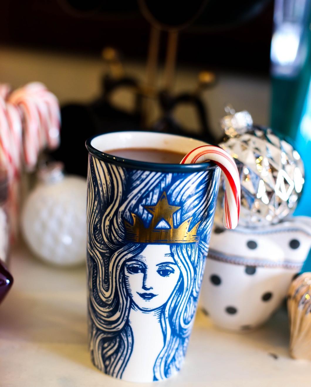 starbucks peppermint mocha latter yummy - Starbucks Christmas Coffee Bar by Atlanta style blogger Happily Hughes