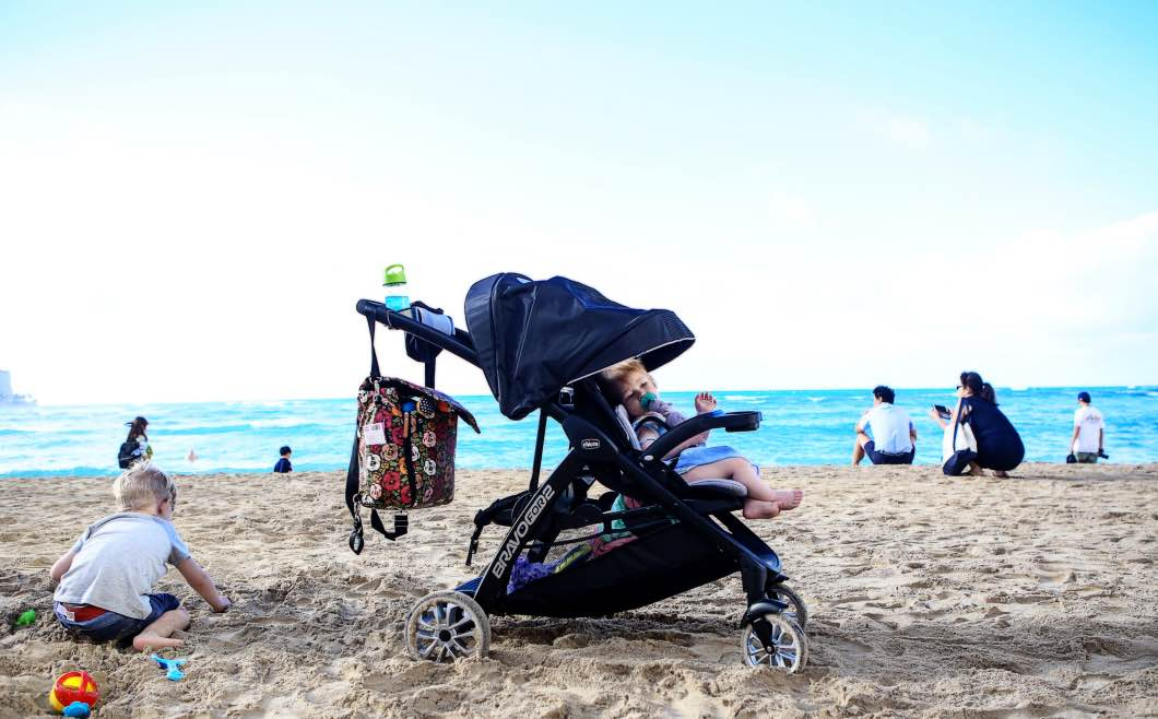 Best Double Stroller for Traveling with Chicco Bravo by Jessica from Happily Hughes
