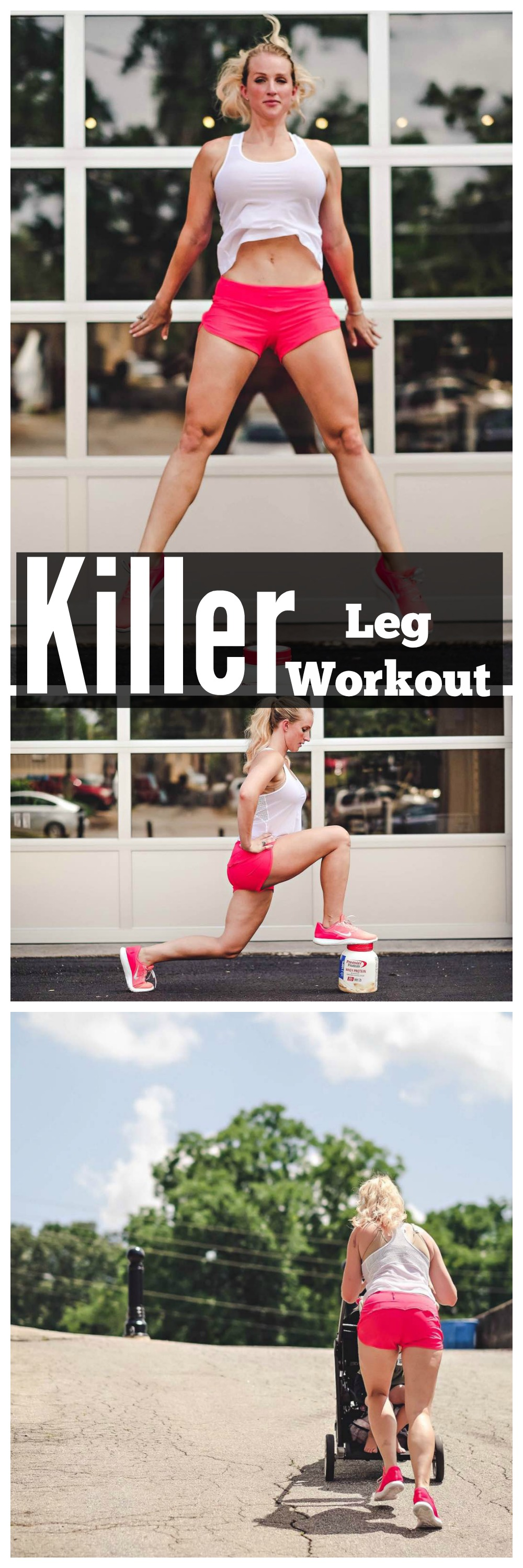 Leg Workouts At Home with Premier Protein by fitness blogger Jessica of Happily Hughes
