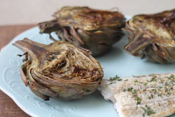 Roasted Artichoke and Baked Mahi Mahi | read more at happilythehicks.com
