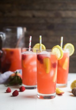 Raspberry Peach Lemonade from joyfulhealthyeats.com