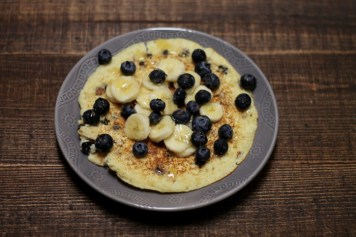 Lemon Blueberry Protein Pancake | read more at happilythehicks.com