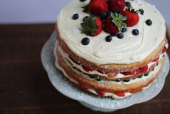 Red White and Blueberry Naked Cake | read more at happilythehicks.com