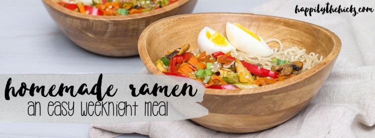 Looking for an easy weeknight meal to try? This homemade ramen is the recipe for you! | read more at happilythehicks.com
