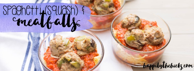This spaghetti squash and meatballs meal is perfect for meal prep and is Whole30 approved! | read more at happilythehicks.com