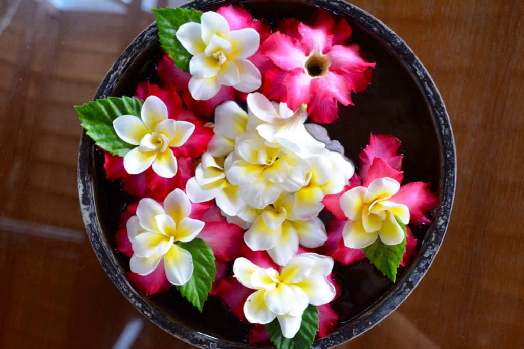 Flowers in the hotel lobby