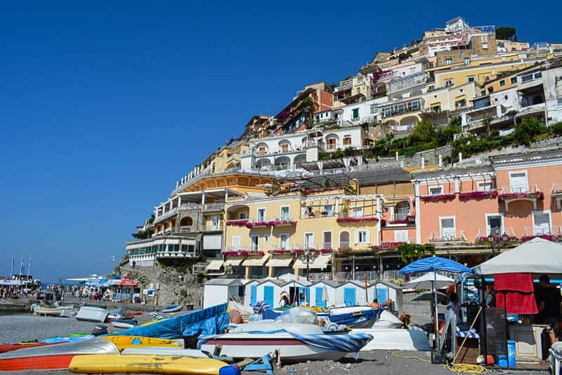 Colourful houses overlooking the beach in Positano