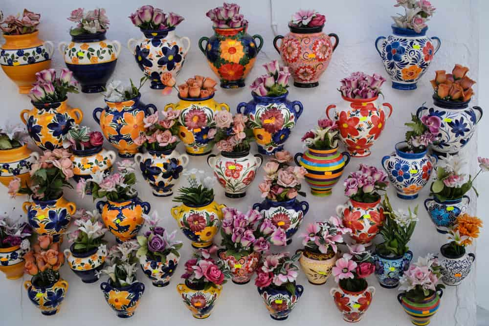 Colourful pots and flowers for sale.