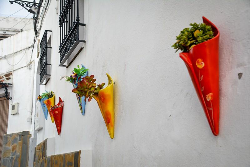 Modern flower pots along the walls