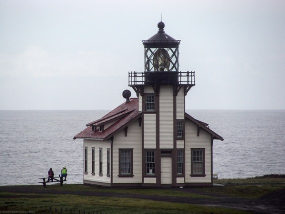 Pt. Cabrillo lighthouse on a gray day.