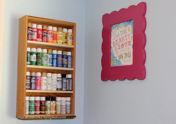 Recycled Drawer Paint Storage Shelf