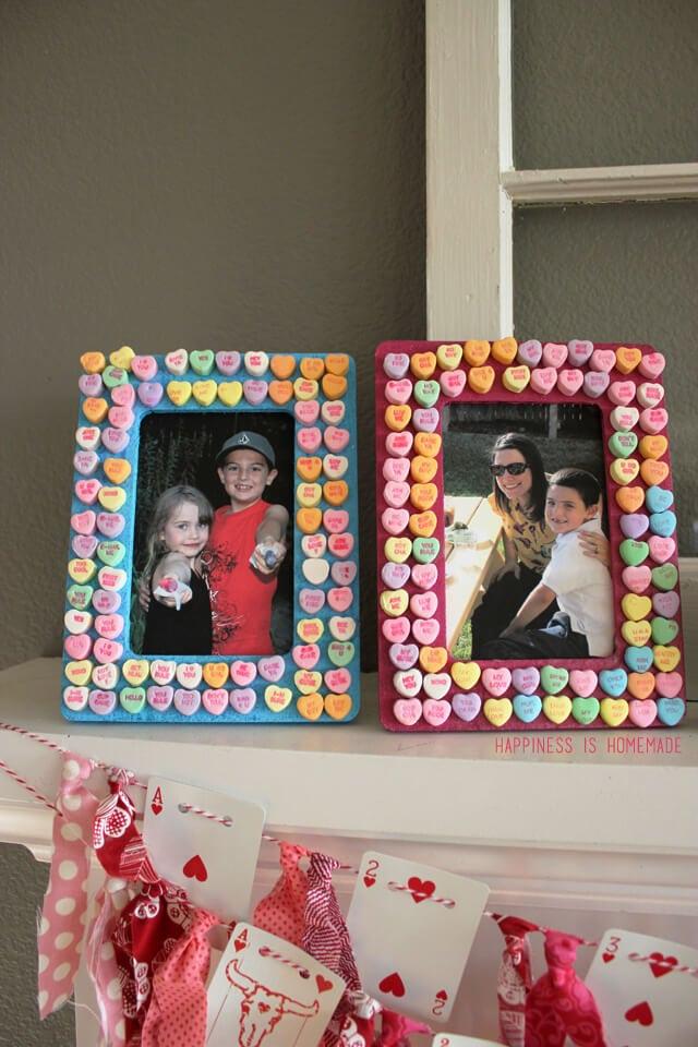 Conversation Heart Valentine's Day Picture Frames Kids Craft