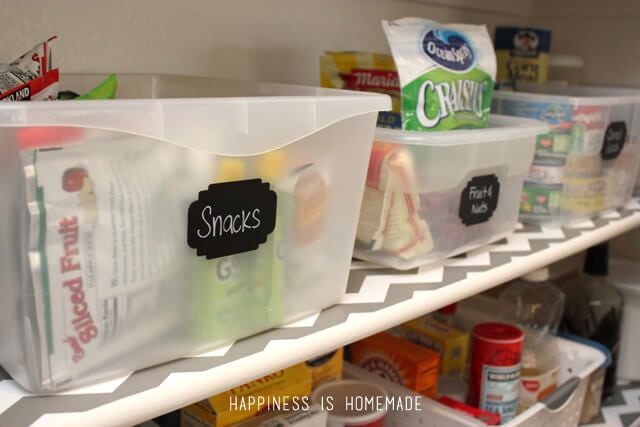 Pantry Snack Bins with Chalkboard Labels